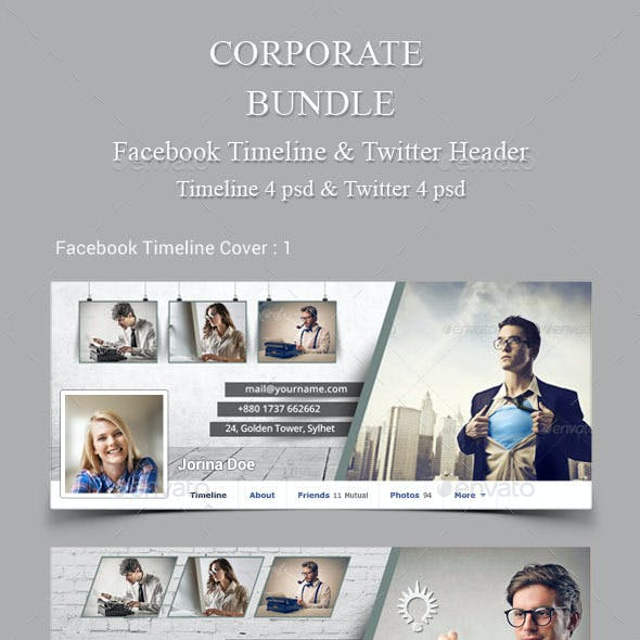 Corporate Bundle Fb Timeline and Twitter Header