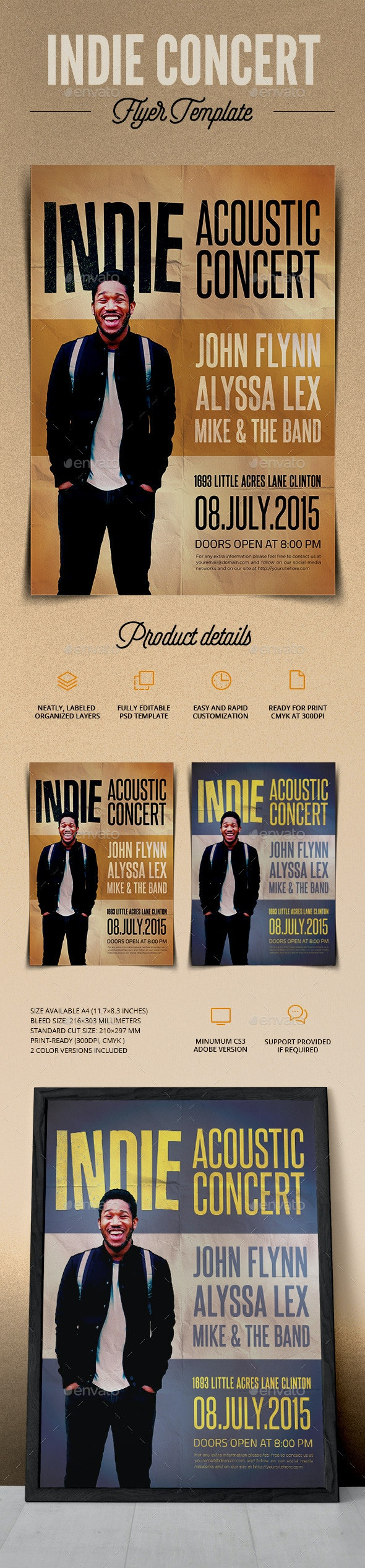 Indie Acoustic Concert Flyer  - Flyers Print Templates