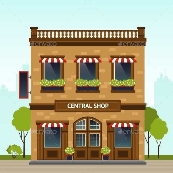 Shop Facade Illustration - Buildings Objects