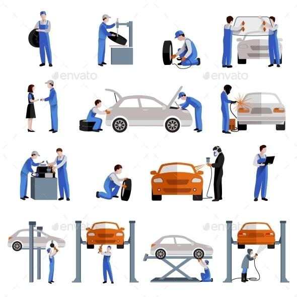 Mechanic Icons Set - People Characters