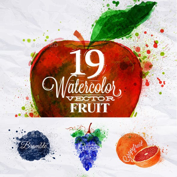 Set Watercolor Fruits