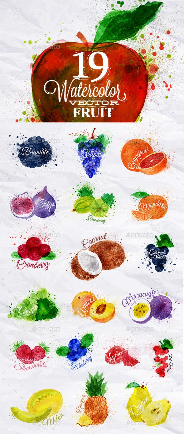 Set Watercolor Fruits - Food Objects