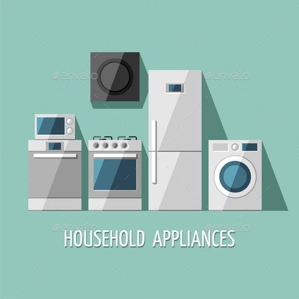 Set of Household Appliances.