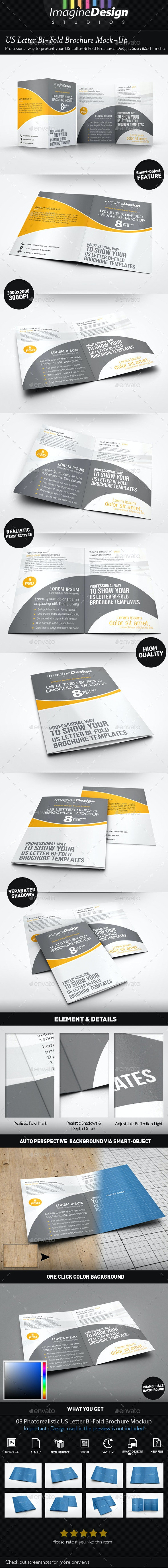 US Letter Bi-Fold Brochure Mock-Up - Brochures Print