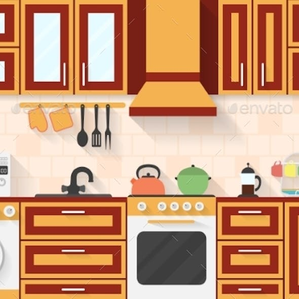 Kitchen With Appliances And Utensils. Flat Style