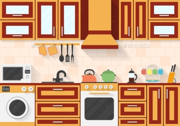Kitchen With Appliances And Utensils. Flat Style - Man-made Objects Objects