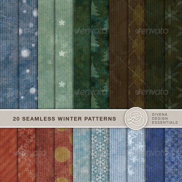 20 Seamless Winter Backgrounds