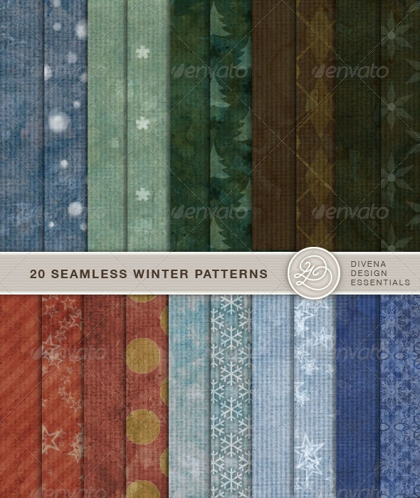 20 Seamless Winter Backgrounds - Paper Textures