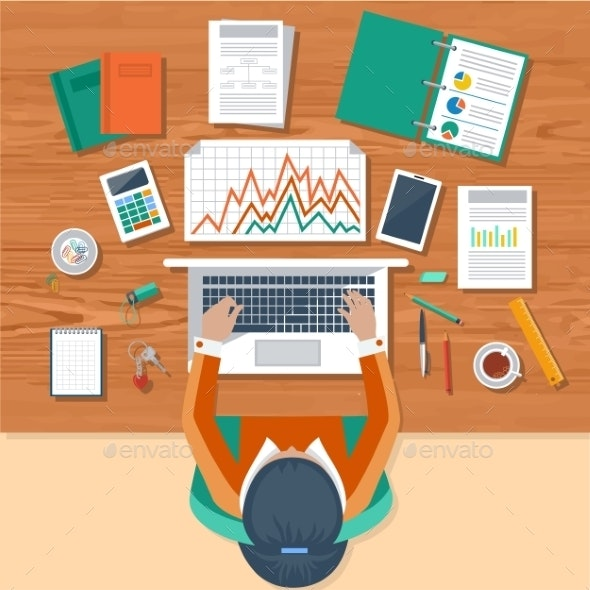 Business Woman Working On Laptop - Concepts Business