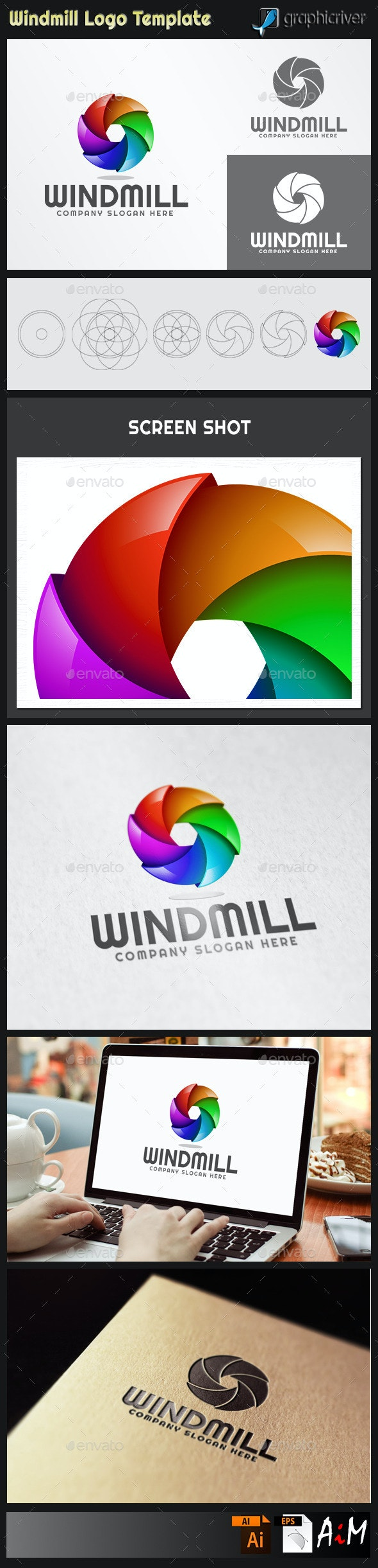 Windmill - Abstract 3D Logo - 3d Abstract