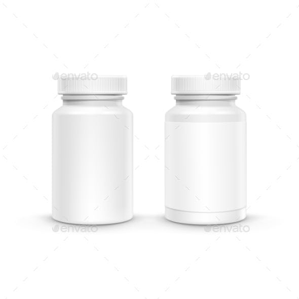 Vector Blank Plastic Packaging Bottle For Pills