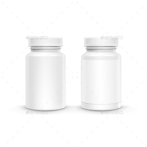 Vector Blank Plastic Packaging Bottle For Pills