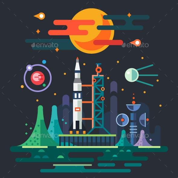 Space Landscape, Rocket Launch