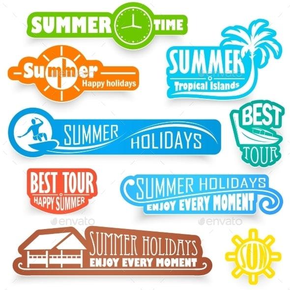 Summer Labels - Objects Vectors