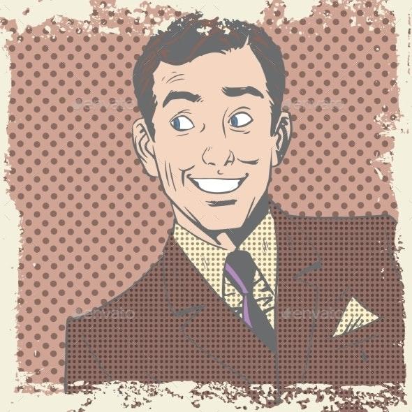 Smiling Man Lover Flirts Pop Art Comics Retro - People Characters
