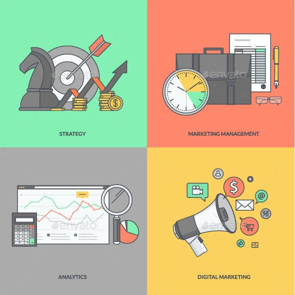 Set of Color Line Icons for Business and Marketing