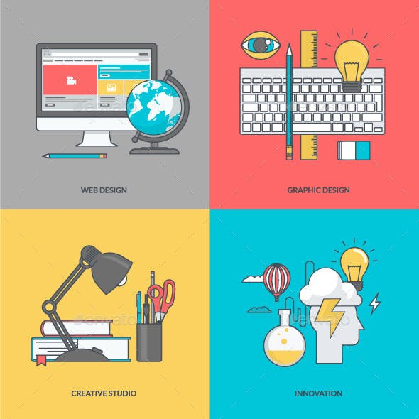 Set of Color Line Icons for Graphic and Web Design