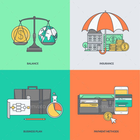 Set of Color Line Icons for Finance