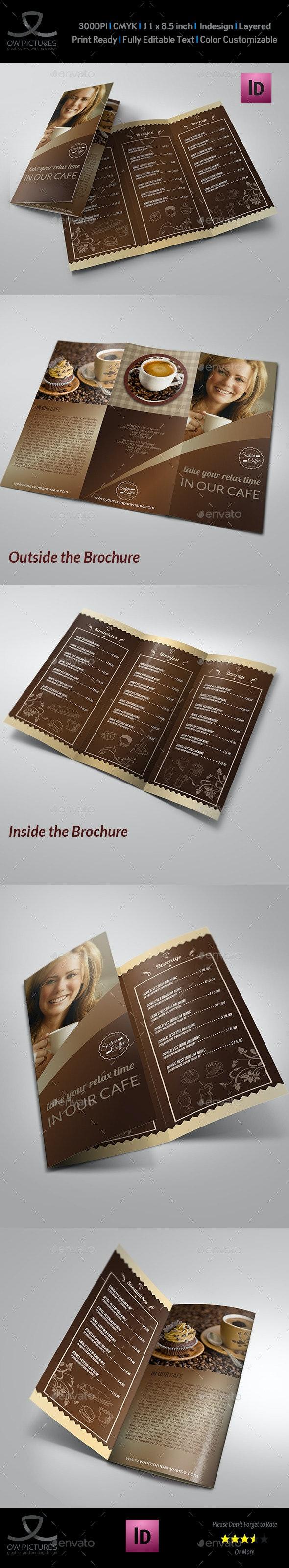 Cafe and Coffee Shop Menu Tri-Fold Brochure - Food Menus Print Templates