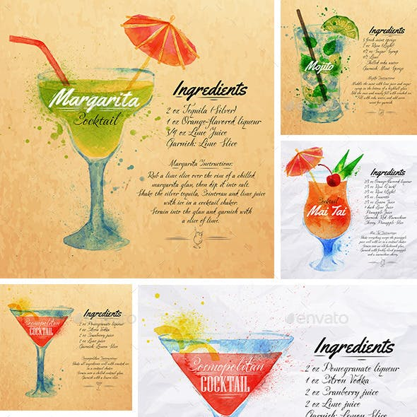 Cocktails Watercolor