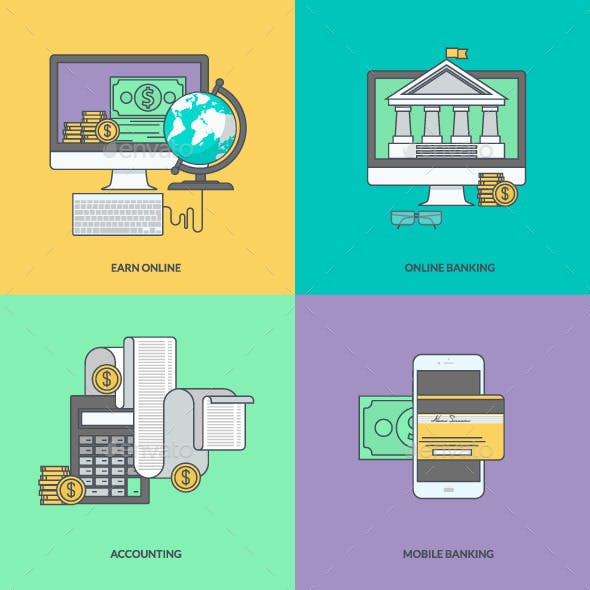 Set of Color Line Icons for Internet Banking