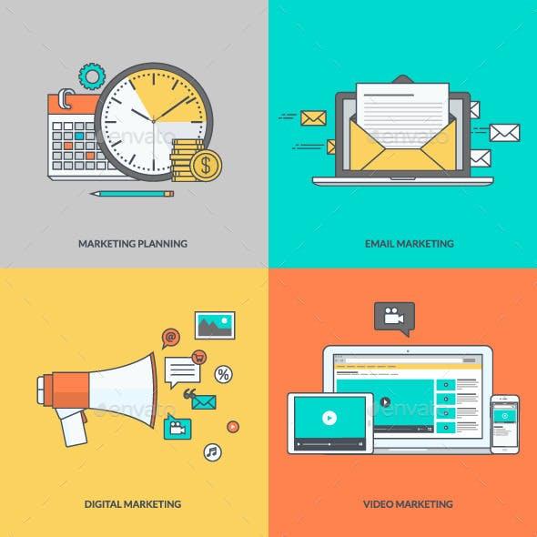 Set of Color Line Icons for Digital Marketing