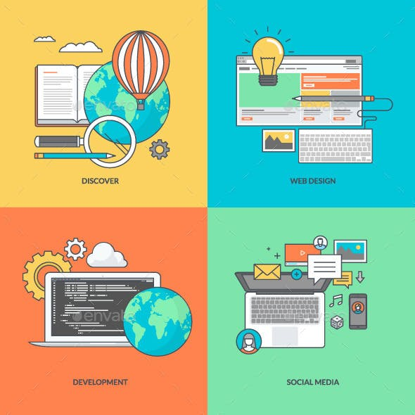 Set of Color Line Icons for Web Development