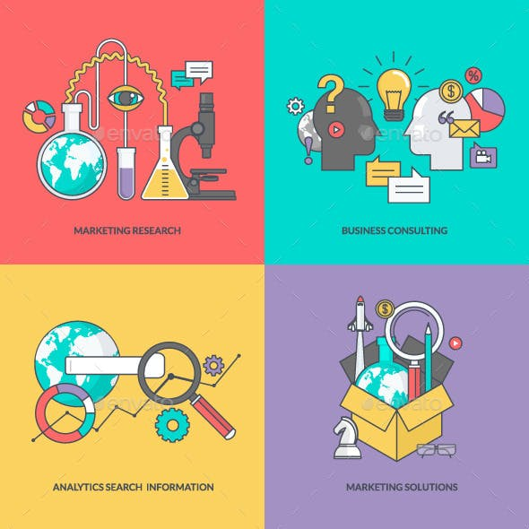 Set of Color Line Icons for Business