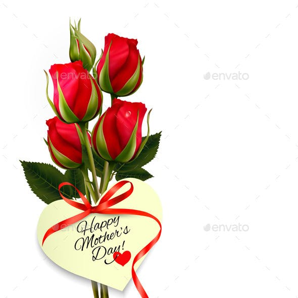 Red Roses With A Heart-Shaped Gift Card