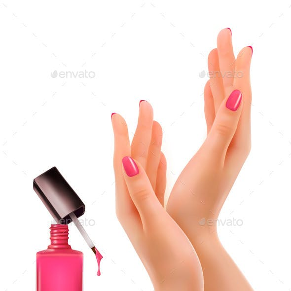 Hands With Pink Polished Nails Nail Polish Bottle