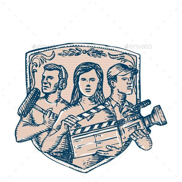 Film Crew Clapperboard Cameraman Soundman Etching