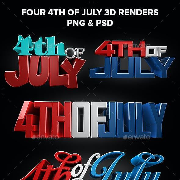 Four 4th Of July 3d Title Renders