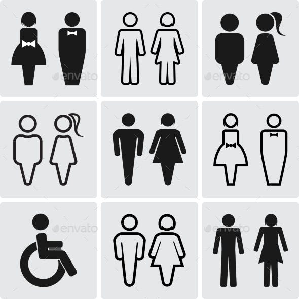 Restroom Silhouettes Icon Set.