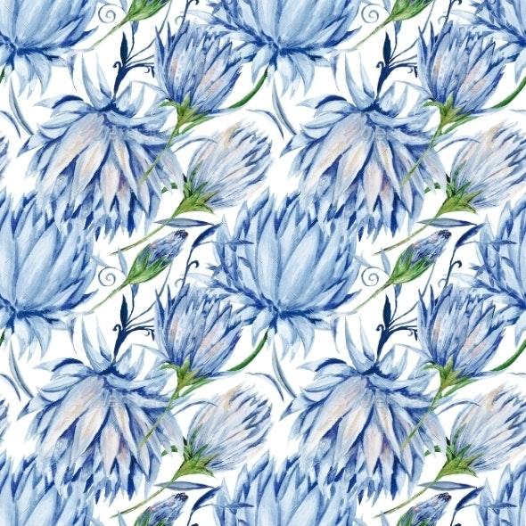 Indigo Floral Pattern - Backgrounds Decorative