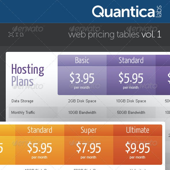Web Pricing Tables (Grids)