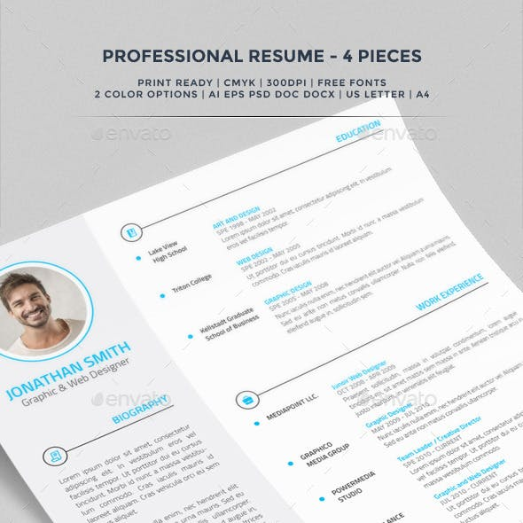 Professional Resume / CV - 4 Pieces