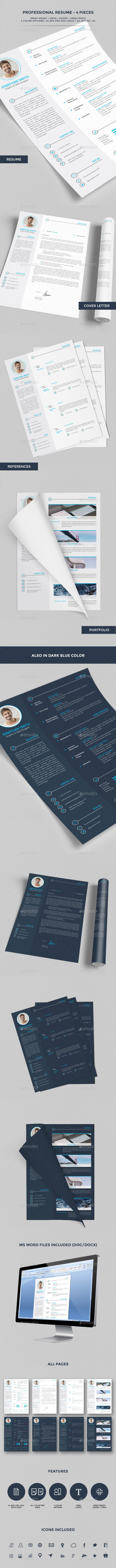 Professional Resume / CV - 4 Pieces - Resumes Stationery