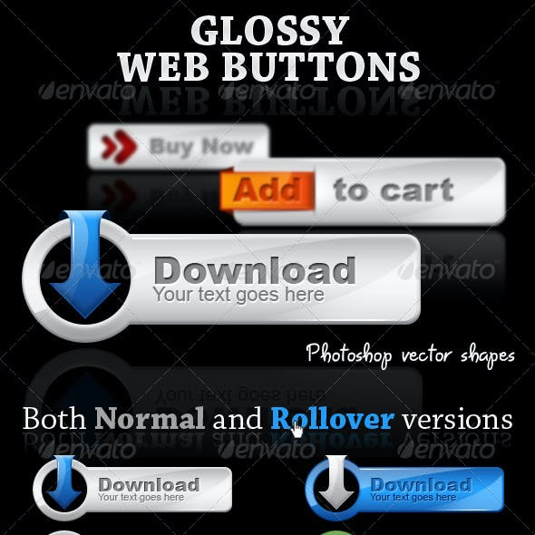 Glossy web buttons - web 2.0 style