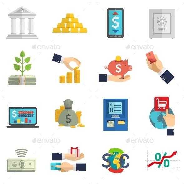Banking System Icons Set