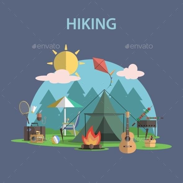 Hiking Concept Flat - Sports/Activity Conceptual
