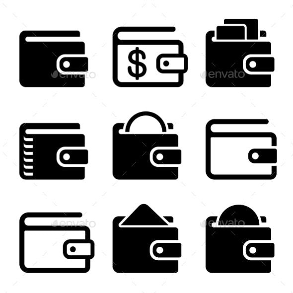 Wallet Icons Set On White Background. Vector
