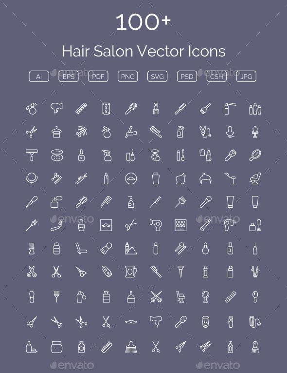 100+ Hair Salon Vector Icons - Icons