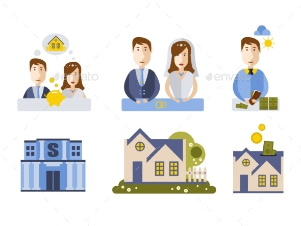 Getting Married and Buying House Couple - Miscellaneous Vectors