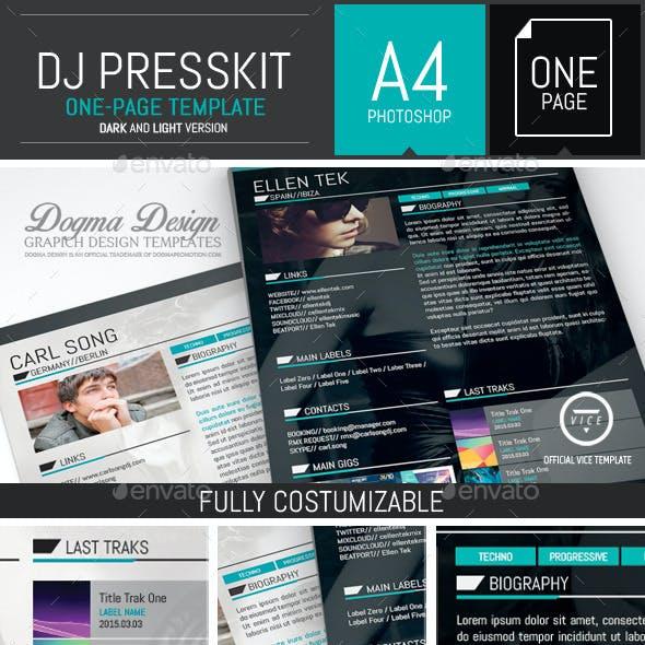 Vice: Dj / Musician OnePage Resume PSD Template