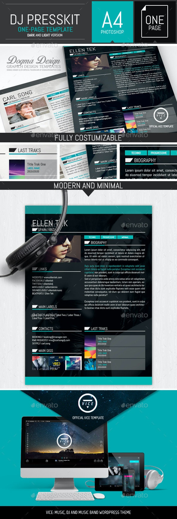 Vice: Dj / Musician OnePage Resume PSD Template - Resumes Stationery