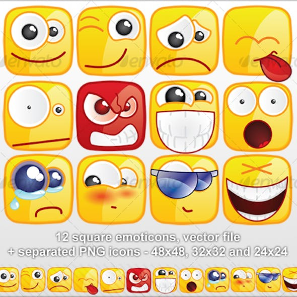 12 Square emoticons