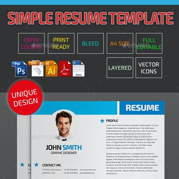 Simple Resume Template 19