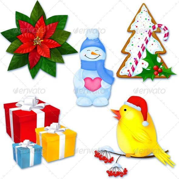 5 Christmas decorations - Objects Illustrations