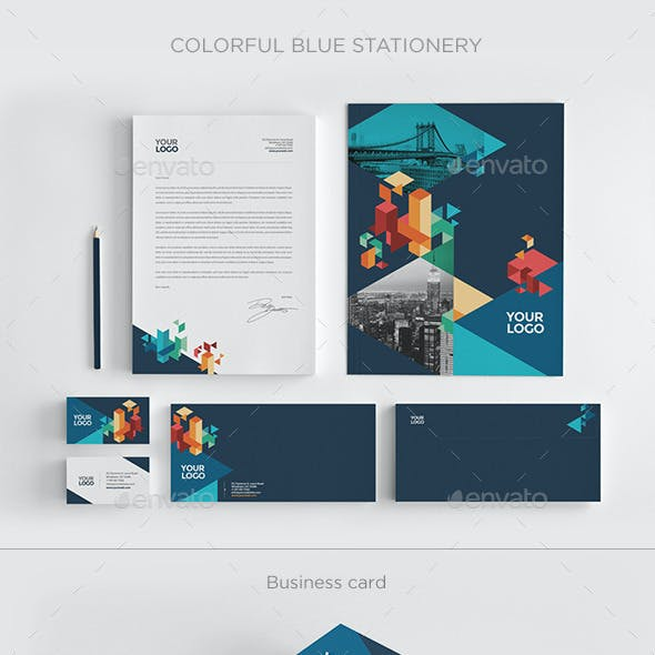 Colorful Blue Stationery