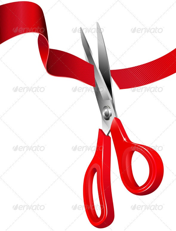 Scissors Cutting the Red Ribbon - Man-made Objects Objects